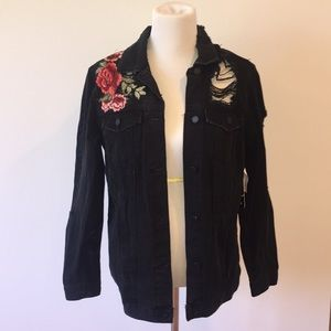 Black Denim Jacket w/ Rose embroidery